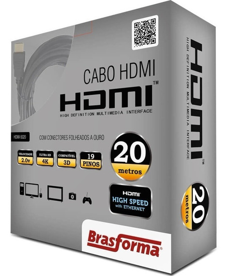 Cabo Hdmi 20m Blindado 2.0 Ethernet 20 Metros 4k 3d 2160p