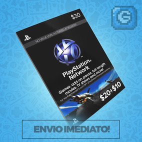 Playstation Network Card Cartão Psn $30 Dolares ($20+$10) Us