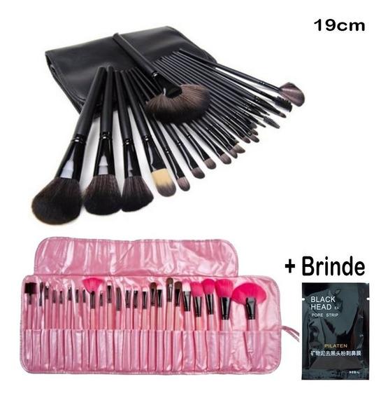 Kit De Pincel Maquiagem Profissional 24 Pcs Grande + Brinde