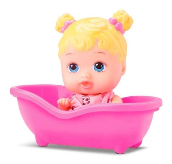 Boneca Com Banheira E Toalhinha Little Dolls Loira Divertoys