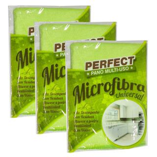 Flanela Toalha Pano Microfibra 40x40 Cm Perfect Kit 3 Unidad