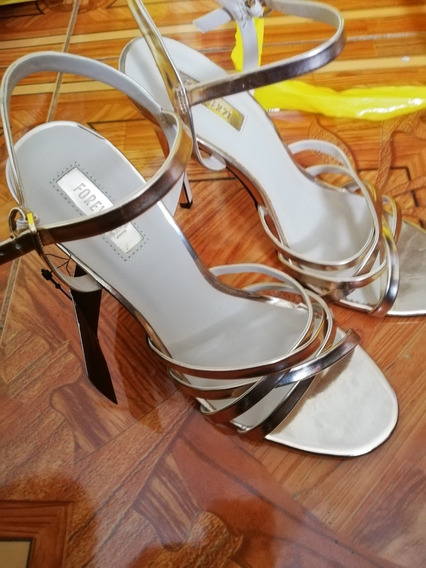 Zapatillas Doradas Forever 21 Dama Mujer Aguja Nva Zapatos