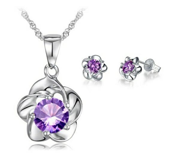 Colar Pingente E Brincos Em Prata E Cristal Zirconia Purpura