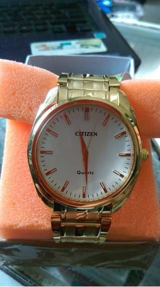 Relógio Citizen Original Impecável À Pilha Folhado A Ouro.
