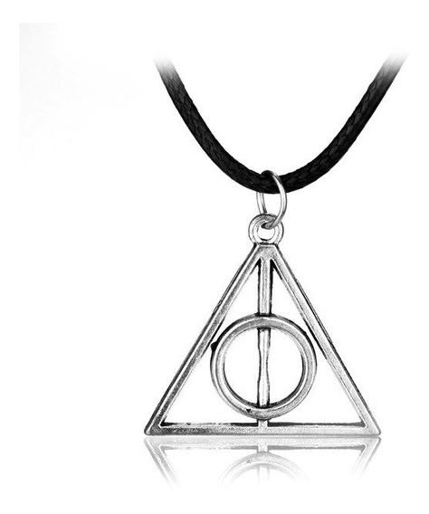 Colar Masculino Reliquias Da Morte Prateado Harry Potter Top