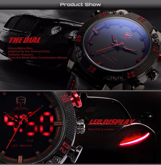 Relogio Shark Red Sport Watch Marca De Luxo Esporte Masc