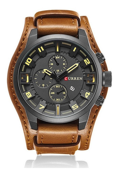 Curren 8225 Moda Mens Relógio De Quartzo Grande Dial Couro C