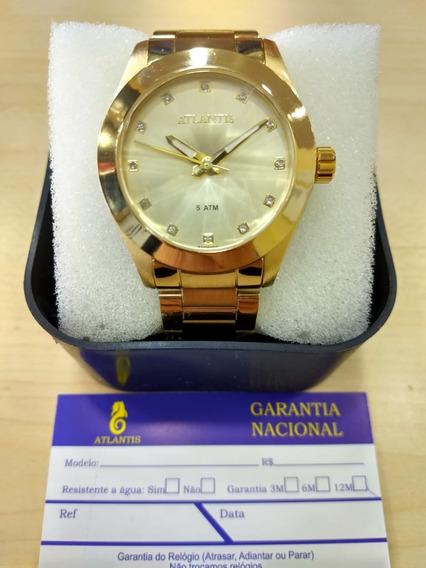 Relógio Original Atlantis Dourado Feminino Vidro Lapidado Cx