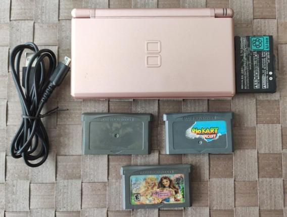 Console Nintendo Ds Lite Rosa 3 Jogos 2 Mario E Barbie Leia
