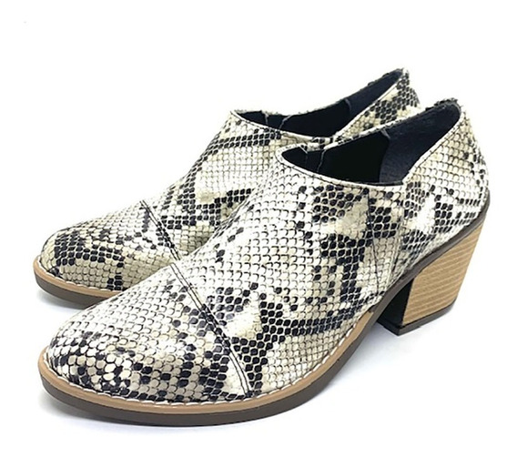 Mocasines Zapatos Zuecos Botitas Mujer Negro Charol Reptil