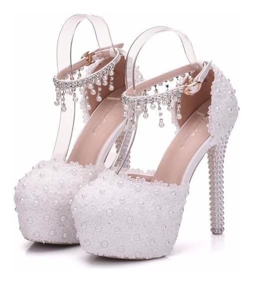 Sapato Branco De Noiva Com Cristais Renda Perolas Casamento