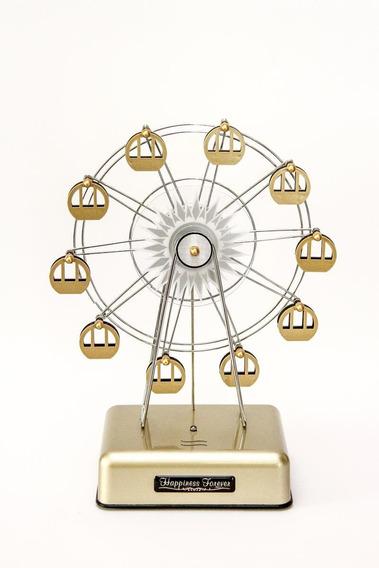 Caixa De Música A Pilhas Roda Gigante Dourada Gold Led
