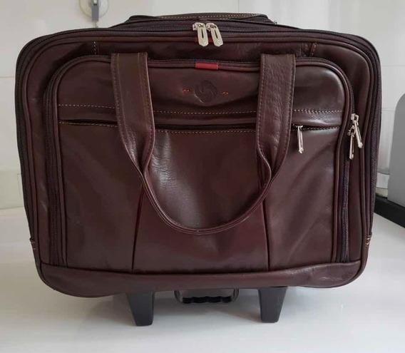 Maletín Samsonite Cuero De Viaje Carry On Leather Portafolio