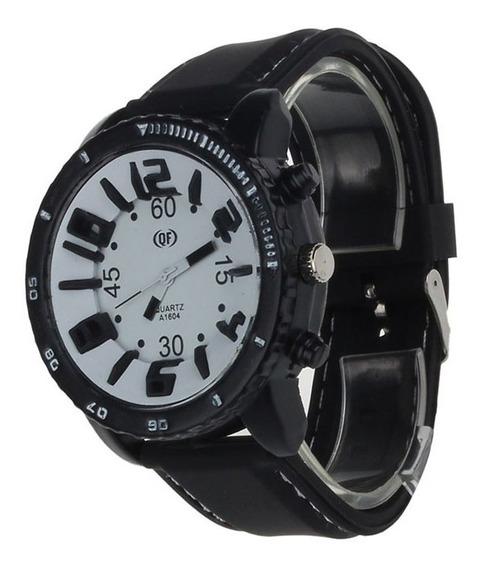 Relógio Masculino De Pulso Grande Preto E Branco Barato 12x