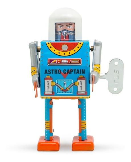 Robot A Cuerda De Hojalata Retro Tin Toy Astro Captain Gato