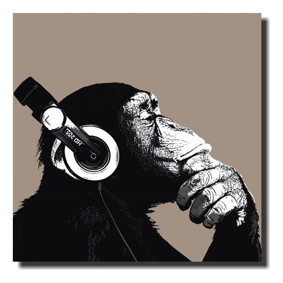Quadro Decorativo Macaco Com Fone De Ouvido
