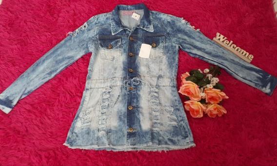 Casaco Jeans Com Botões E Cinto De Amarrar