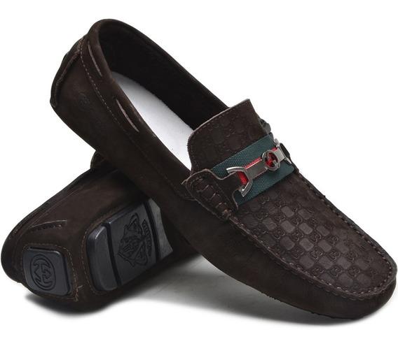 Mocassim Sapato Drive Guc55 Masculino Casual 100% Couro Luxo