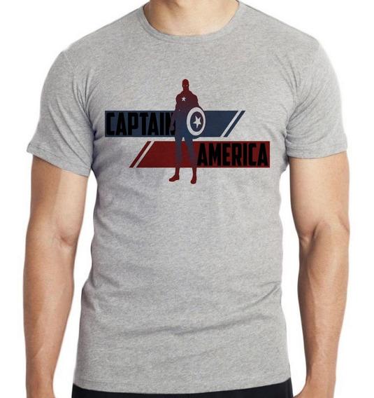 Camiseta Infantil Kids Capitão América Listra Avengers Marve