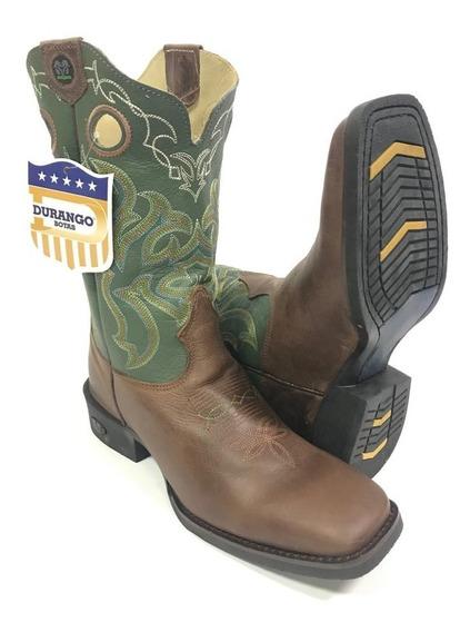 Bota Texana Country Masculina Durango Bico Quadrado Cano Verde Escuro 100% Couro - Super Confortável Com Costura Reforça