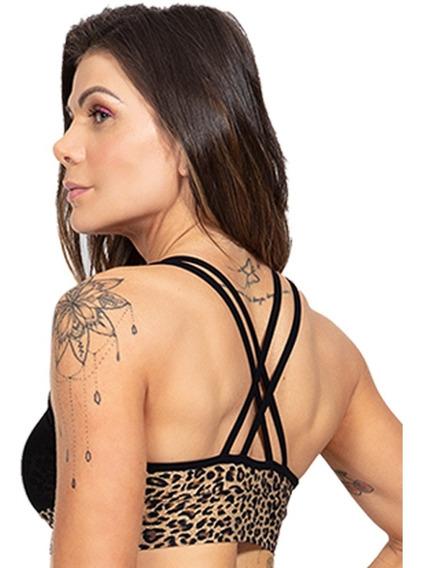 Roupa Feminina Top Moda Fitness Oncinha Com Tule Promo 1009