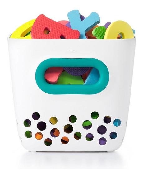 Porta Brinquedos De Banho Oxotot - Cor Branco E Verde Água
