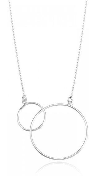 Gargantilha Círculos Em Prata 925 Tamanho: 45cm + 5cm