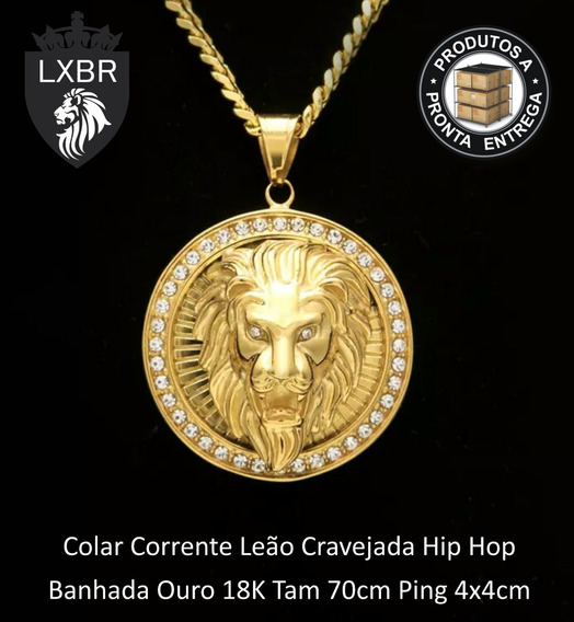 Colar 70cm Corrente Cravejada Leão Ouro Hip Hop Lxbr Bl35