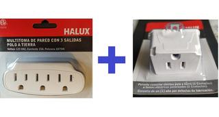 Multitoma Polo Adaptador Electrica Pared Conector Toma 3 A 2