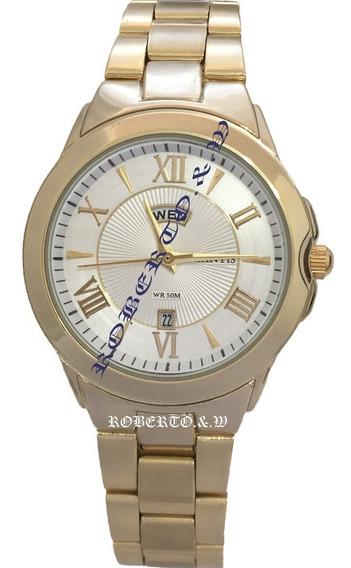 Relógio Atlantis Original Unisex Dourado Com 2 Calendário