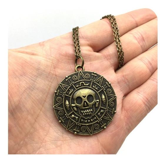 Medallón De Pirata Piratas Del Caribe Collar De Jack Sparrow Dije Medallón Pirata Collar Calavera Pirata Collar Moda