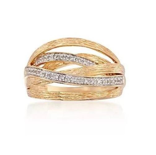 Anel De Ouro 18k/750 Trabalhado Mais 27 Diamantes Naturais
