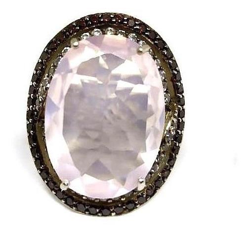 Eg8-anel Prata 925 Quartzo Rosa Zirconias Chocolate Brancas Rodio Kessel