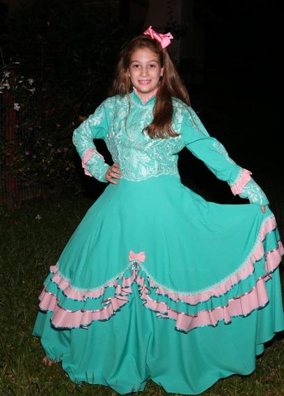 Vestido De Prenda Gaucha Modelo Kaieli Tam. 6-8-10-12