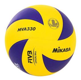 Bola De Vôlei Em Couro Sintético Mva330 Amarelo/azul Mikasa