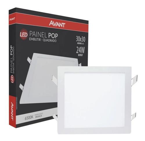 Painel Plafon Led 24w Quadrado Embutir Branco Frio Luminária