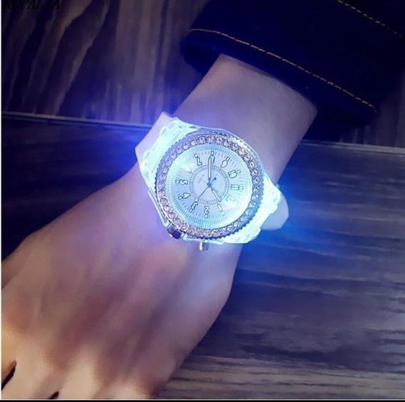 Relógio Geneva Feminino Led Pulseira Borracha