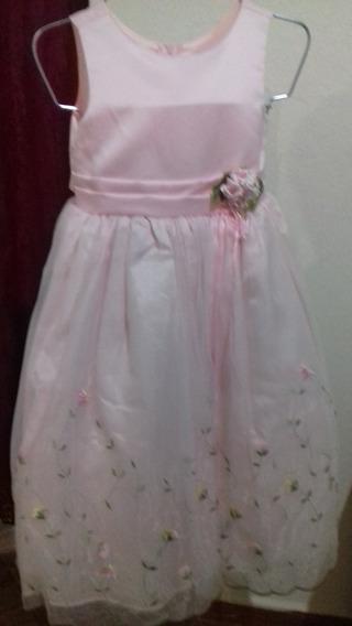 Elegante Vestido De Fiesta Color Rosa Pastel Para Niña