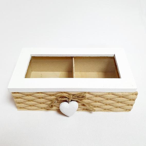 Caja De Te De Madera Rustica Organizador De Saquitos X 2