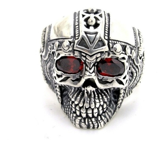 Anel Prata De Lei 950 Caveira Skull Olho De Rubi Trabalhado