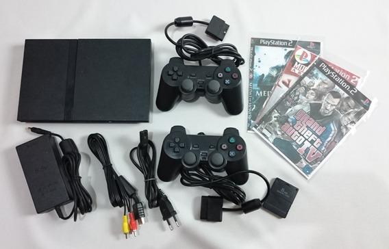 Playstation 2 Destravado Funcionando 2 Controles Memory Card