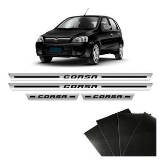 Kit Soleira Cromada Corsa Hatch Sedan Com Protetor De Porta
