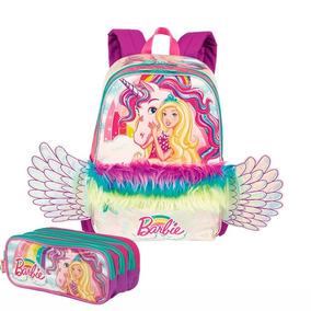 Kit Mochila Infantil Escolar E Estojo Triplo Barbie Dreamtop