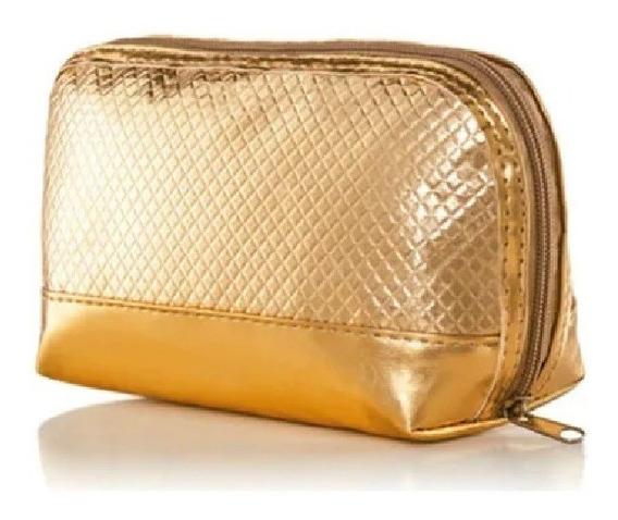 Necessaire Organizadora Dourada Metálica Feminina Couro Sint