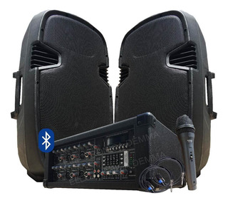 Combo Consola Potenciada 6ch C/ Usb + 2bafles 500w+mic+cable