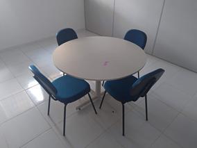 Conjunto 4 Cadeiras Escritório Mesa Reunião Redonda Mad