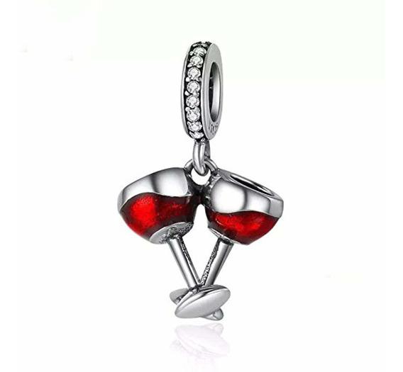 Copa De Vino Rosa Pálido encanto para pulseras plateado
