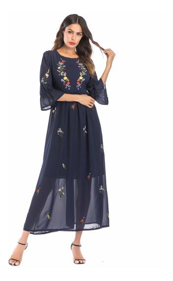 Vestido Fiesta Largo Negro Bordado Importado Selena69