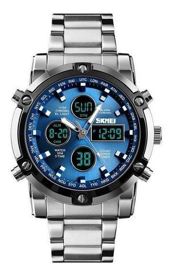 Relogio Masculino Skmei 1389 Dual Time Led,alarme,calendario E Timer Caixa 52mm A Prova Agua Envio Imediato Frete Gratis