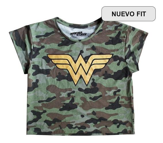 Playera Top Máscara De Látex Wonder Woman Camo Mldc Mujer